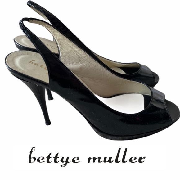 bettye muller Slingback Peep toe black patent heel